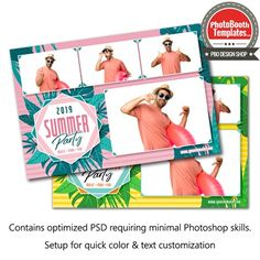 Summer Fun Postcard Photobooth Layout, Photobooth Template, Event Themes, All Fonts, Photoshop Elements, Beach Party, Text Color, Luau, Summer Fun