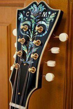 Custom octave mandolin headstock, design by Carson Ellis