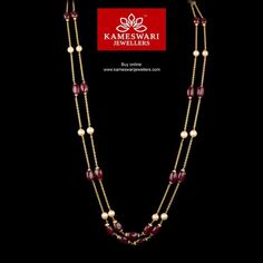 Elegant gold chains for women from Kameswari Jewellers. Shop for antique and designer gold chains online! Gold Jewelry Simple, Gold Rings Jewelry, Pearl Jewelry, Simple Necklace, Gemstone Jewelry, Pearl Necklace Designs, Gold Earrings Designs, Gold Necklace, Gold Chain Design