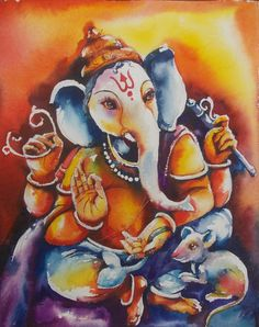 Ganesha Painting, Ganesha Art, Lord Ganesha, Shri Ganesh Images, Ganesha Pictures, Art For Sale Online, Selling Art Online, Diy Wall Painting, Oil Painting On Canvas