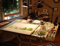 This is an artist's Watercolor Studio Space.  Mine looks like this too.... in my dreams.