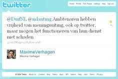 Tweet Maxime Verhagen over Vrijheid van Meningsuiting van ambtenaren