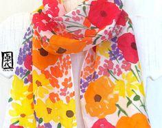 Silk Scarf Handpainted White Scarf Pastel by SilkScarvesTakuyo