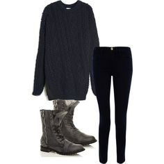 """Nice and Cozy"" by noelle-horan on Polyvore Oversized sweater, dark skinnies, and dark gray combat boots."