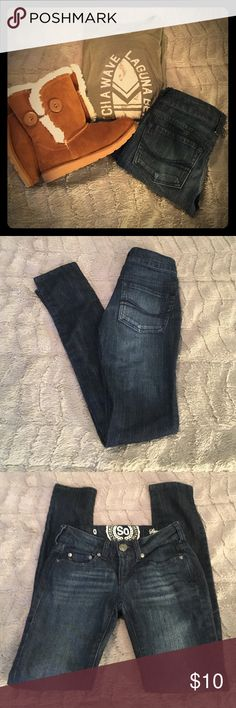 So Skinny Jeans, Dark Wash, Factory Fading Like new condition. Skinny jeans made by So. Dark wash with factory fading. Jeans have a little bit of stretch to them. Really cute on. SO Jeans Skinny
