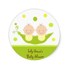 Two Peas In A Pod  Baby Shower Thank you Stickers