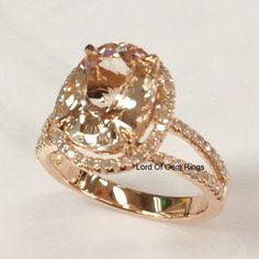 Oval Morganite Engagement Ring Pave Diamond Wedding 14K Rose Gold 8x10mm Split Shank - Lord of Gem Rings - 1