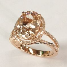 Oval Morganite Engagement Ring Pave Diamond Wedding 14K Rose Gold 8x10mm Split Shank - Lord of Gem Rings - 1
