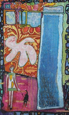 "Princess and the Pea Floating by Windows Yvonne Walks Lucy in a Dress I Designed for Her with English Paisley Oil on Wood 13.75 x 22.25"" $544.99"