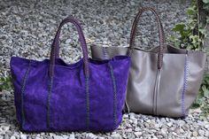 Callista crafts ,purple suede and taupe leather