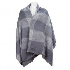 Sjaal omslagdoek poncho grote sjaal blauw grijs TastefulTas.nl