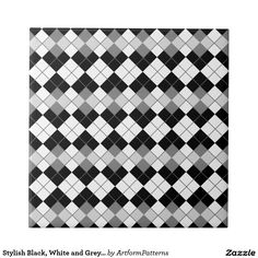 Motif à motifs de losanges noir, blanc et gris élé petit carreau carré