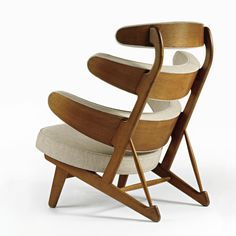Poul Volther; Oak 'Pyramid' Lounge Chair for Peder Pedersen, 1950s.