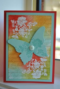 would love this with less color in the background...love the butterfly :)  Emboss Resist #butterflies