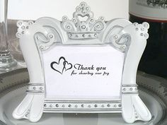Sparkling Tiara Photo Frame Favors (Cassiani Collection 1648) | Buy at Wedding Favors Unlimited (https://www.weddingfavorsunlimited.com/sparkling_tiara_photo_frame_favors.html).