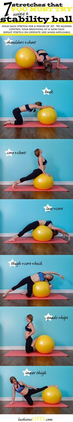 7 Stability Ball Stretches that you must try! || lushiousLIFTS.com