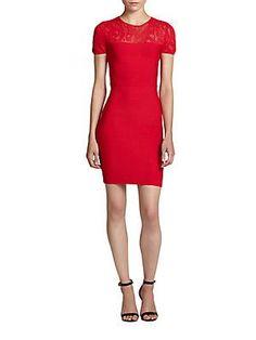 BCBGMAXAZRIA Myley Lace Illusion-Yoke Dress - Jewel Red - Size L