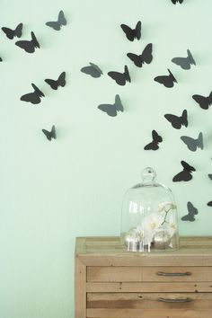 Butterflies on the wall. Photocopy the motif in as many different sizes as you like, then use them to cut out butterflies from cardboard. Bend the wings upwards and use double-sided tape or Prestik to secure to the wall.