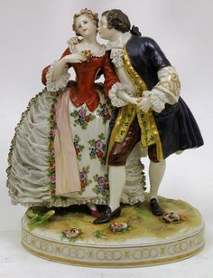 "Dresden Lace porcelain"" group of two young lovers in Century dress, high Porcelain Jewelry, Porcelain Ceramics, China Porcelain, Painted Porcelain, Porcelain Tiles, Dresden Dolls, Dresden Porcelain, 18th Century Dress, Indian Dolls"