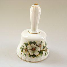 Decorative Bells Ceramic Porcelain Bell White W Purple Violets Floral Design