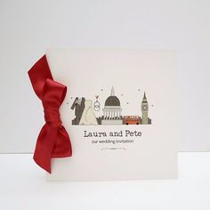 London Inspired Wedding Invitation with Red Bow