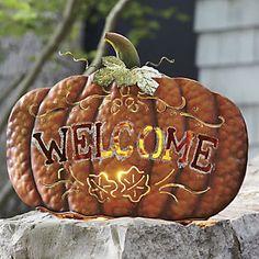 Welcome Pumpkin Candleholder