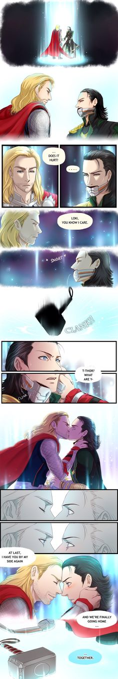 Thorki-YES! The REAL ending of Avengers! Thorki works if you think about it, plus Thor and Loki have such conflicting emotions for each other that this ship just has to sail! Loki Thor, Loki Avengers, Loki Laufeyson, Tom Hiddleston Loki, Marvel Dc Comics, Marvel Avengers, Loki Art, Marvel Films, Deadpool