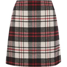 RED CHECK SKIRT ($64) ❤ liked on Polyvore featuring skirts, checkerboard skirt, red skirt, red knee length skirt, checkered skirt and checked skirt