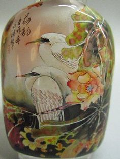 Chinese Glass Hand Inside-drawing Flower Bird Pattern Snuff Bottle