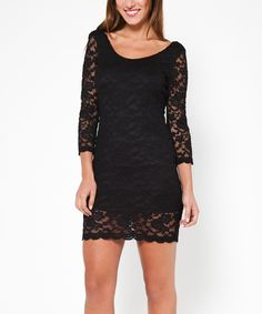 Another great find on #zulily! Black Lace Scoop Neck Dress by Tantra #zulilyfinds