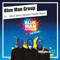 egendäre Blue Man Group kehrt mit ihrer spektakulären Show zurück in die Schweiz 💙💥.  Tickets sind ab sofort online erhältlich. Blue Man Group, Basel, Ab Sofort, Musical Theatre, Highlight, Musicals, Poster, Geneva, Switzerland