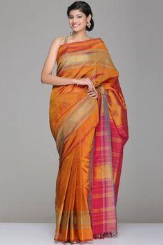 Golden Brown & Maroon Puttur Silk Cotton Saree With Blue & Gold Zari Striped Border & Pallu