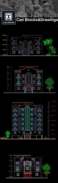 Download Building Elevation|Facade Design Drawings Now!! (https://www.cadblocksdownload.com/collections/all/building-elevation) Download CAD Drawings | AutoCAD Blocks | Building Elevation | Elevation Designs | Facade Design| See more about AutoCAD, Cad Drawing and Architecture Details
