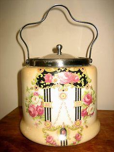 Antique 1918 Biscuit Barrel Cookie Jar Porcelain Bristol English Ware