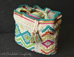 """Crochet Pattern: """"Boho Chic"""" Mosaic Tote Bag **Permission to Sell Finished Items INSTANT DOWNLOAD by ACrochetedSimplicity on Etsy https://www.etsy.com/listing/254990656/crochet-pattern-boho-chic-mosaic-tote"""