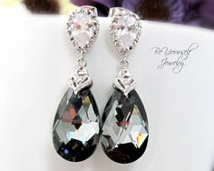 Bridal Earrings Swarovski Crystal Silver Night Earrings Cubic Zirconia Teardrop Dangle Earrings Grey Black Earrings Bridesmaid Gift on Etsy, $44.99