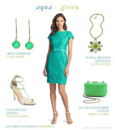 Aqua and Green Wedding Guest look
