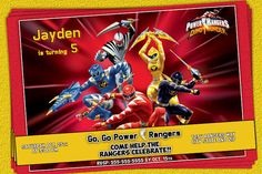 Power Rangers Invitation - Printable Power Rangers Birthday Party Invitation -