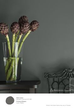 A bold statement. #BenjaminMoore Kendall Charcoal HC-166 with Aura, matte finish (wall).