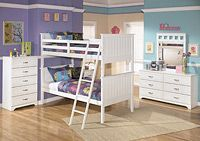 """Lulu Twin/Twin Bunk Bed The light airy cottage design of the """"Lulu"""" youth bedroom collection features a replicated white paint finish flowing beautifully over the grooved panels and embossed bead framing to make this innovative furniture an inviting addition to any child's bedroom."""