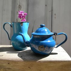 Vintage blue enamel pitcher and teapot from France