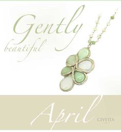 #Beauty can be gentle... April #necklace, natural crysophrase gemstones in shades of green, surrounded by a shiny, delicate silver powder paste border. An handmade creation by Italian designer #Estrosia.  Have it now!
