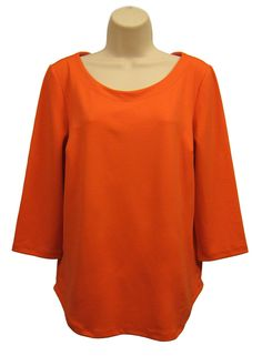 ANN TAYLOR Women Size M Orange Pullover Tunic Top Blouse Scoop Neck 3/4 Sleeve #AnnTaylor #Tunic #Casual #Women #Size Medium #Blouse #Top #3/4 Sleeve