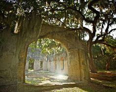 Chapel of ease, St. Helena Island, Beaufort County, South Carolina I've been here a couple of times, and I will say it is the most beautiful yet haunting place I've ever witnessed! Saint Helena Island, St Helena, On The Road Again, Us Road Trip, Down South, Vacation Destinations, Vacations, Weekend Trips, South Carolina
