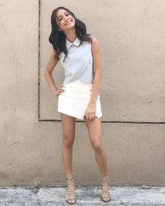 Love the shirt Ylona Garcia, Filipina Girls, Soft Gamine, White Shorts, Short Dresses, Shirts, Ootd, Women, Style