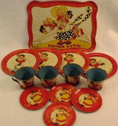 Vintage Tin Childs Dish Set Mother GOOSE Ohio Art Fern Bisel Peat 13 Pieces | eBay
