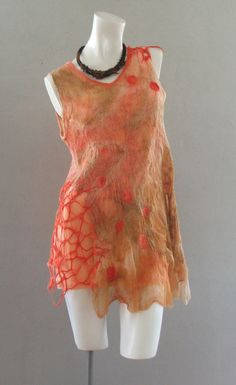 Nuno felted blouse OOAK wool cotton  and silk felted by BeatasSoul, $157.00