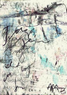 Asemic writing - acryl and coal on paper by mila blau