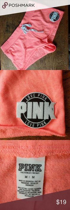 Love pink sweat shorts M Peach color.  Excellent condition.  Drawstring. PINK Victoria's Secret Shorts