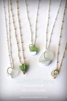 NEW and just listed! Gold and silver tipped #Seaglass necklaces for #Summer from JewelryByMaeBee on #Etsy. www.jewelrybymaebee.etsy.com #beach#beachglass